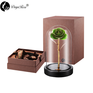 Daiya Light Green Rose 24K Gold /gold Leaf+The Glass Cover
