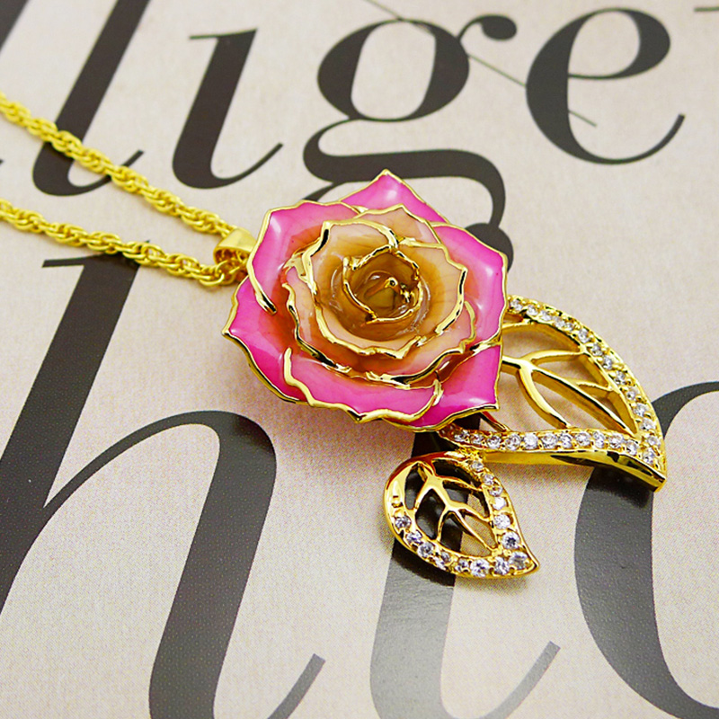 Double Leaf Pink Rose Necklace (fresh Rose)