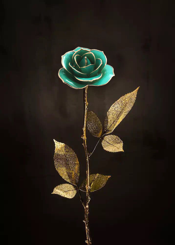 Six Gold Leaf Gold Rose