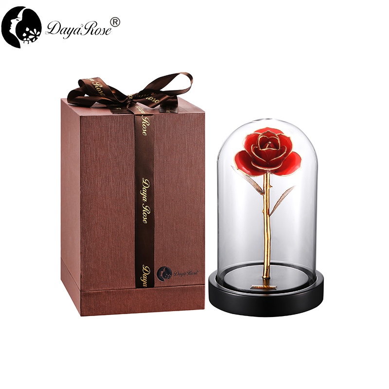 Daiya Orange Red Rose 24K Gold /gold Leaf+The Glass Cover