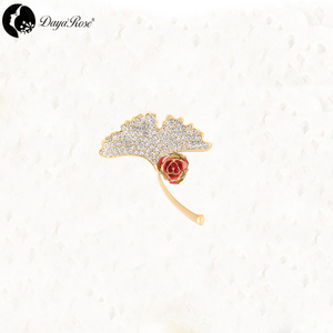 Ginkgo Gold Rose Rainbow Brooch (natural Flowers)