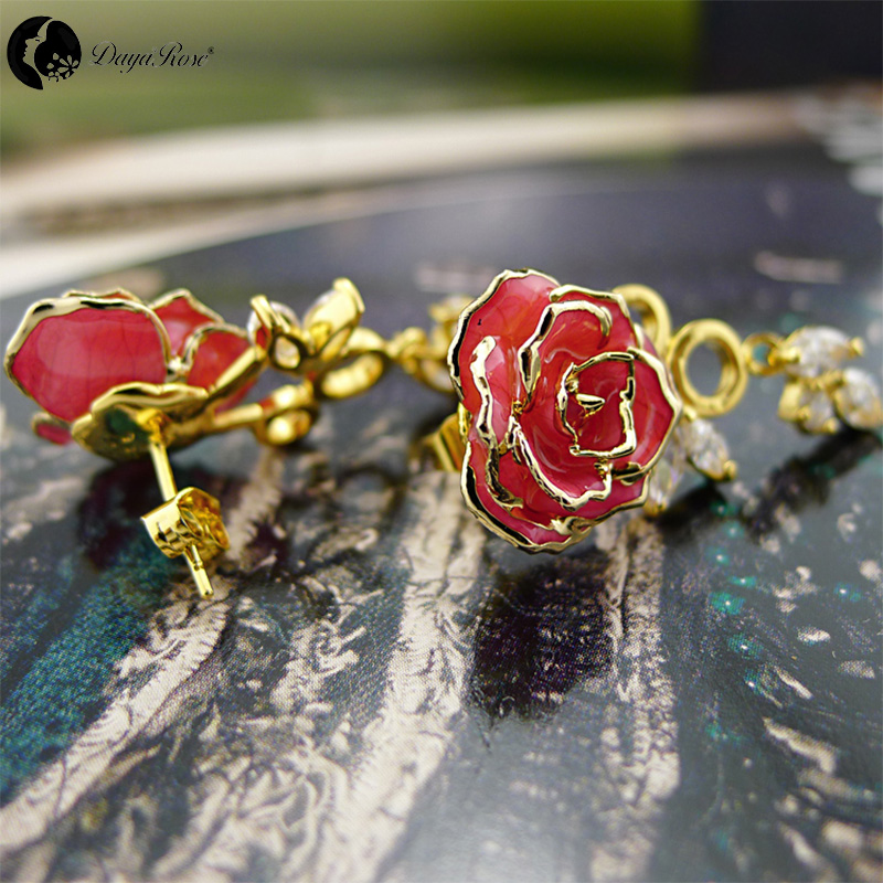 Colour Diamond Gold Rose Earrings (fresh Rose)
