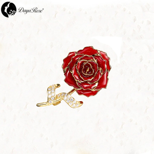 Daya Gold Rose Brooch (natural Flowers)