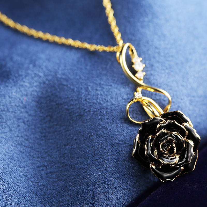 Note Black Rose Necklace (fresh Rose)