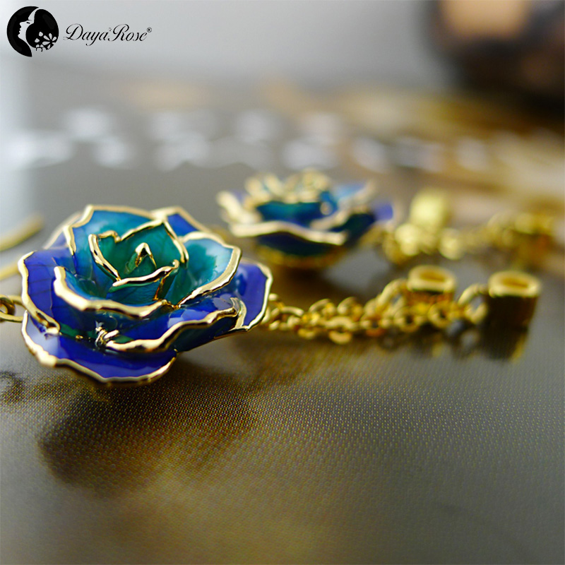 Colorful Gold Rose Earrings (fresh Rose)