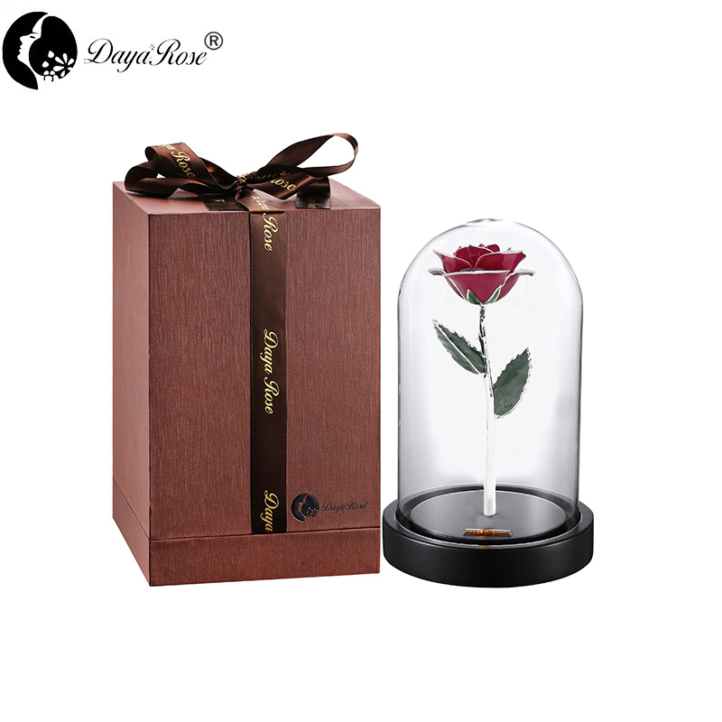 Rose Red Rose with Silver Roses(The Glass Cover)