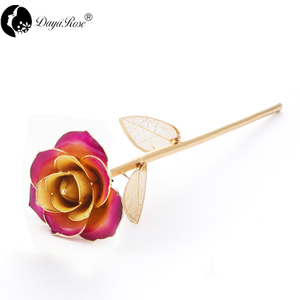 Daiya Champagne Purple Border Rose 24K Gold (gold Leaf)