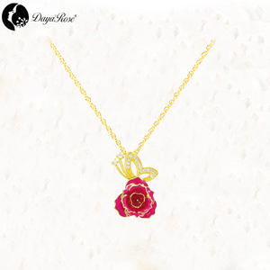 Gold Rose Necklace in Butterfly Design (fresh Rose)