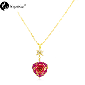 Love Around Colorful Gold Rose Necklace (fresh Rose)