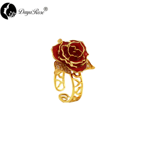 Lover Gold Rose Sky Blue Ring (natural Flowers)