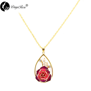 Water Drop Diamond Colorful Rose Necklace (fresh Rose)