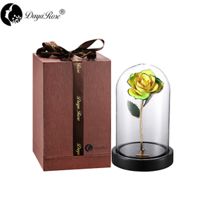 Wholesale Processing Customized Diana Yellow And Green Two-color Gold Rose (The Glass Cover)