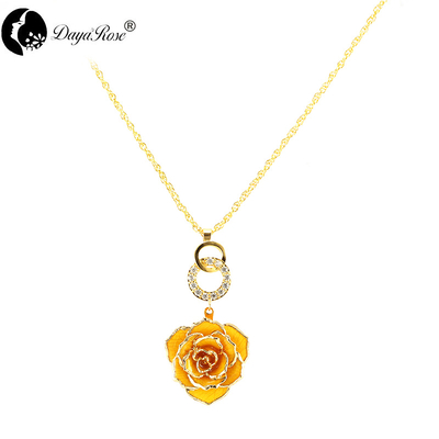 Double Yellow Rose Necklace (fresh Rose)